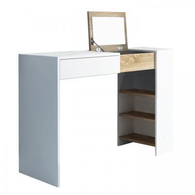 Fésülködő asztal tükörrel, fehér - sonoma tölgy - LA PLUS BELLE